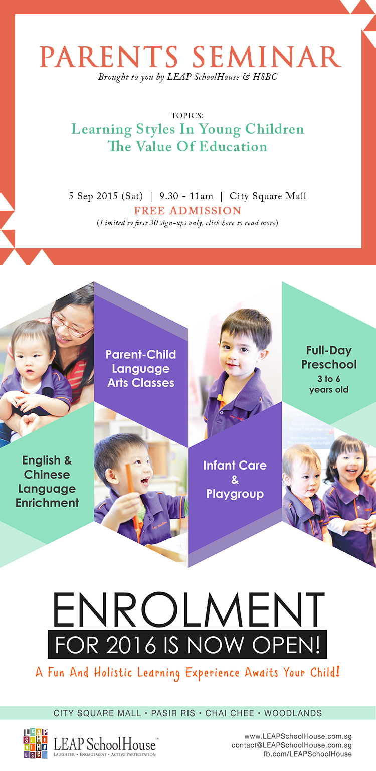Free Parents Seminar on 5 Sep | Enrolment For 2016 Now Open At LEAP