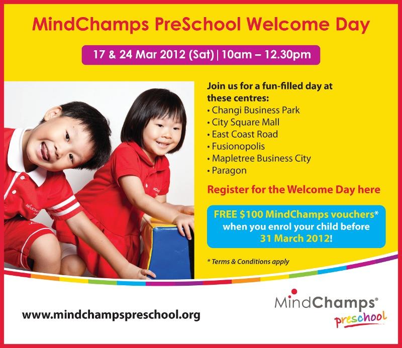 17 & 24 Mar 2012 (Sat) | 10am - 12.30pm. Free $100 MindChamps vouchers* when you enrol your child before 31 Mar 2012!